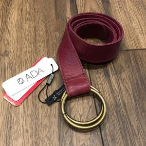 NWT Ada Josie Red Double O Ring Leather Belt